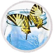 Butterfly On A Blue Jar Round Beach Towel by Bob Orsillo