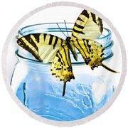 Butterfly On A Blue Jar Round Beach Towel