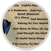 Butterfly Poem Round Beach Towel