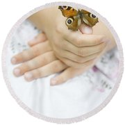 Butterfly Resting On A Girls Hand Round Beach Towel