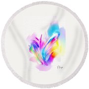 Butterfly Sound Abstract Round Beach Towel