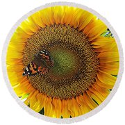 Butterfly Sunflower Round Beach Towel