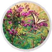 Butterfly Wildflower Round Beach Towel