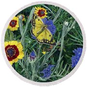 Butterfly Wildflowers Spring Time Garden Floral Oil Painting Green Yellow Round Beach Towel