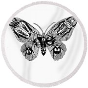 Butterfly With Design Round Beach Towel