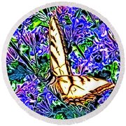 Butterfly With Purple Flowers 2 Round Beach Towel