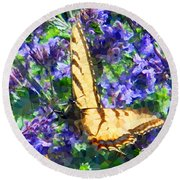 Butterfly With Purple Flowers 3 Round Beach Towel