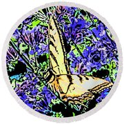 Butterfly With Purple Flowers Round Beach Towel