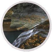 Buttermilk Falls In Autumn I Round Beach Towel