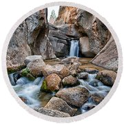 Buttermilks Waterfall Round Beach Towel