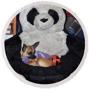Button And The Panda Bear Round Beach Towel