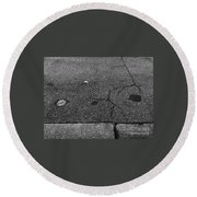 Buttons On The Concrete Round Beach Towel