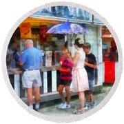 Buying Ice Cream At The Fair Round Beach Towel