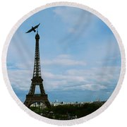 Buzzing The Tower Round Beach Towel