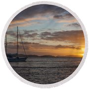 Bvi Sunset Round Beach Towel