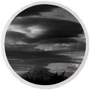 Bw Clouds Over Mt Adams Round Beach Towel