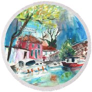 By A French Canal 01 Round Beach Towel