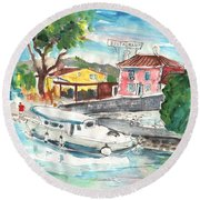 By A French Canal 02 Round Beach Towel