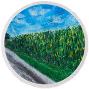 By An Indiana Cornfield The Road Home Round Beach Towel