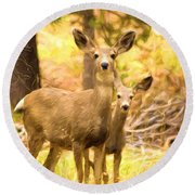 By Mama's Side - Photo Manipulation - Mule Deer - Casper Mountain - Casper Wyoming Round Beach Towel