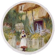 By The Cottage Gate  Round Beach Towel