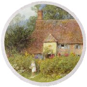 By The Cottage Gate Wc On Paper Round Beach Towel