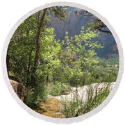 By The Emerald Pools - Zion Np Round Beach Towel