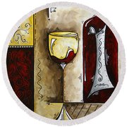 By The Fireside Original Madart Painting Round Beach Towel
