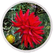 By The Garden Gate - Red Dahlia Round Beach Towel