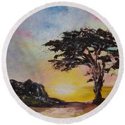 By The Golden Sea Round Beach Towel