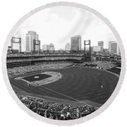 By The Right Field Foul Pole Bw Round Beach Towel