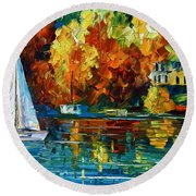 By The Rivershore Round Beach Towel by Leonid Afremov