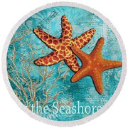 By The Sea Shore Original Coastal Painting Colorful Starfish Art By Megan Duncanson Round Beach Towel