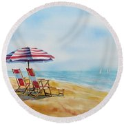 By The Waterfront Round Beach Towel