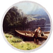 By The Waters Edge Round Beach Towel