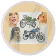 Bykes And Byrds 1 Round Beach Towel