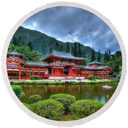 Byodo Temple Round Beach Towel