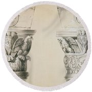 Byzantine Capitals From Columns In The Nave Of The Church Of St Demetrius In Thessalonica Round Beach Towel