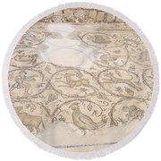 Byzantine Mosaic Depicting Animals And Hunting Scenes. Round Beach Towel