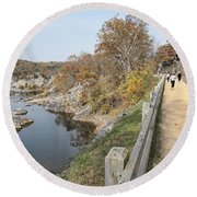 C And O Canal Above And Potomac River Below Round Beach Towel