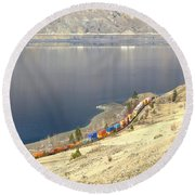 C P R And C N R Freight Trains Round Beach Towel