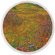 Ca Poppies And Goldfields And Lacy Phacelia In  Antelope Valley Ca Poppy Reserve-california  Round Beach Towel