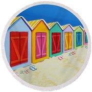 Cabana Row - Colorful Beach Cabanas Round Beach Towel