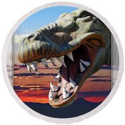 Cabazon Dinosaur Round Beach Towel