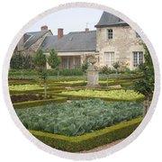 Cabbage Garden  Chateau Villandry Round Beach Towel