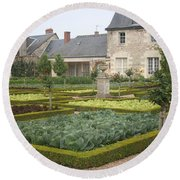 Cabbage Garden  Chateau Villandry Round Beach Towel