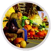 Cabbage Patch Kids - Giant Pumpkins - Marche Atwater Montreal Market Scene Art Carole Spandau Round Beach Towel
