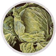 Cabbage Still Life Round Beach Towel