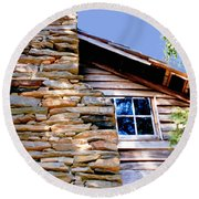 Cabin At Mabry Mill Round Beach Towel
