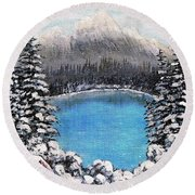 Cabin By The Lake - Winter Round Beach Towel by Barbara Griffin